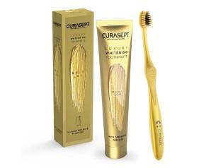 Curasept Igiene Orale Quotidiana Gold Luxury Whitening Spazzolino da Denti e Dentifricio Sbiancante