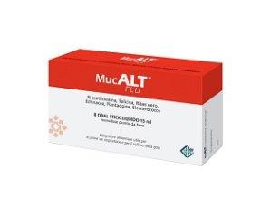 Aurora Biofarma Mucalt Flu Integratore Alimentare 8 Oral Stick 15 ml