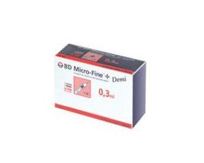 BD Micro-Fine + Demi Siringhe da Insulina 0.3 ml 30 Siringhe