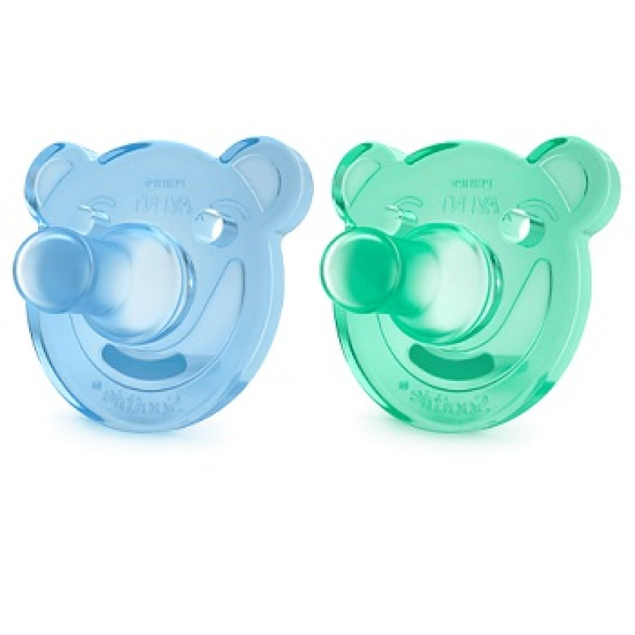 Avent 2 Succhietti Gommosi in Silicone Verde Blu 0-3m  Cura del Neonato