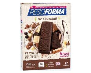 Nutrition & Sante' Italia Pesoforma Barrette 3 Cioccolati 372 G scadenza 04/21
