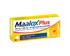 Maalox Plus 200 Mg + 200 Mg + 25 Mg Compresse Masticabili 30 Compresse