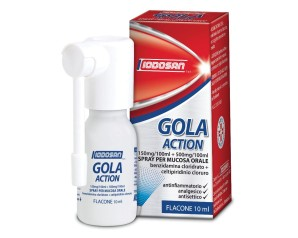 Gola Action 150 Mg/100 Ml + 500 Mg/100 Ml Spray Per Mucosa Orale 1 Flacone 10 Ml