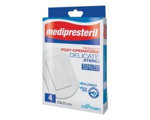 Corman Medicazione Medipresteril Post Operatoria Delicata 10x15 4 Pezzi