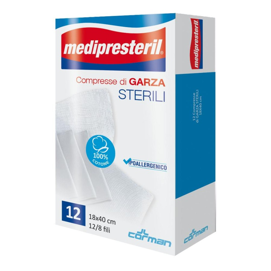 Corman Garza Medipresteril Sterile Monouso 18x40 12 Pezzi