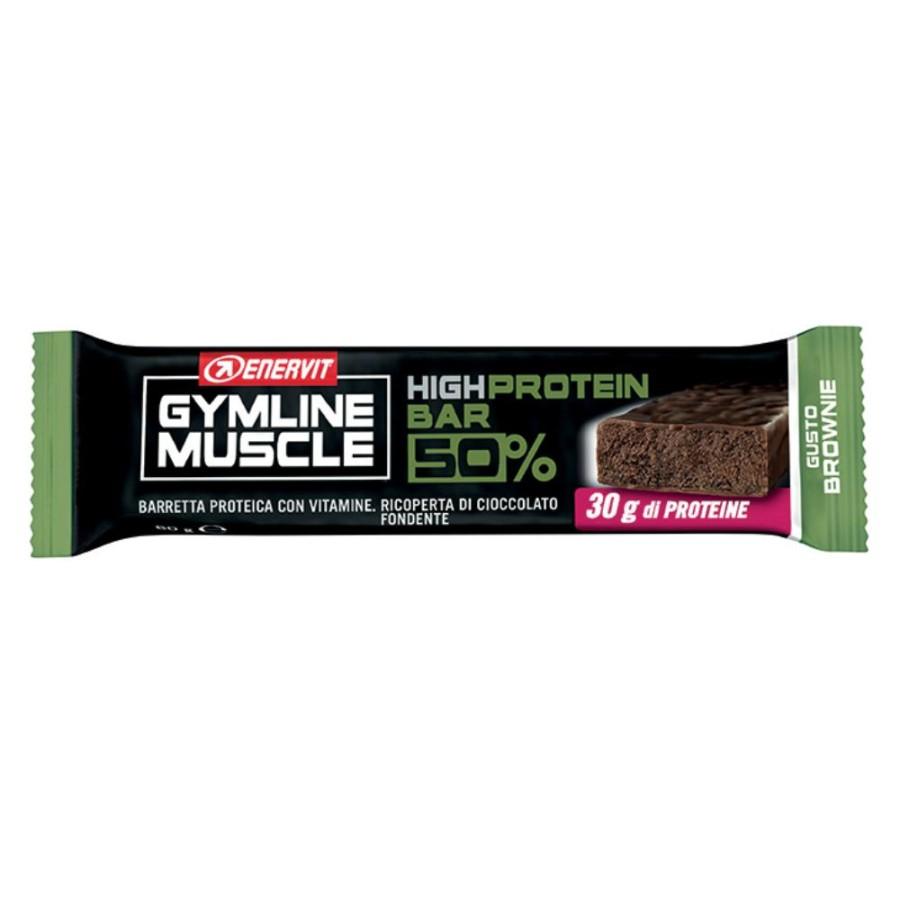 Enervit Gymline Muscle High Protein Bar 50% Gusto Brownie Barretta Proteica 60g