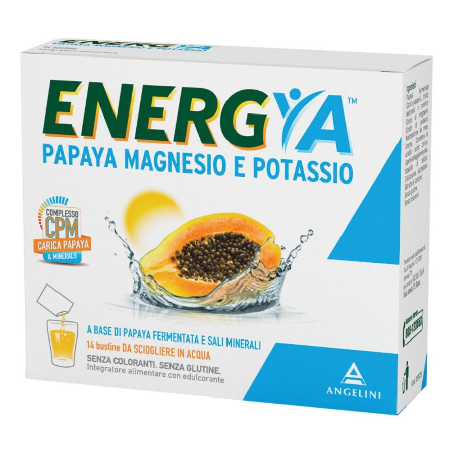 Angelini Energya Papaya Magnesio e Potassio Integratore Alimentare 14 Bustine