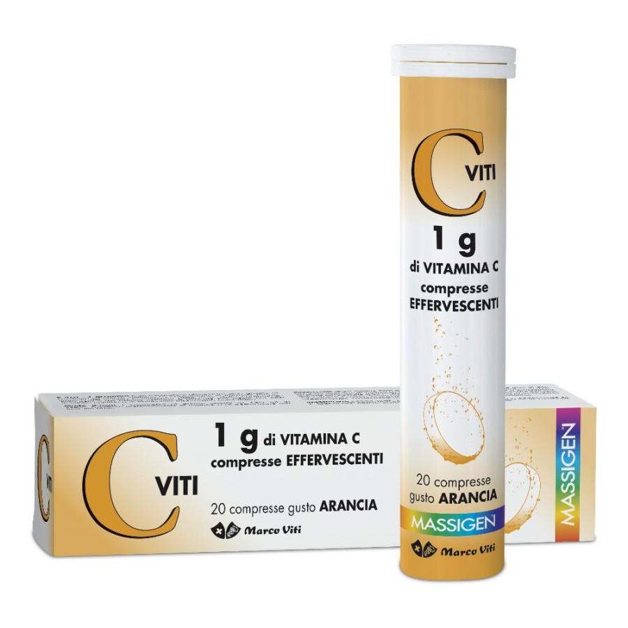 Massigen  Vitamine Viti C 1 g Integratore 20 Compresse Effervescenti
