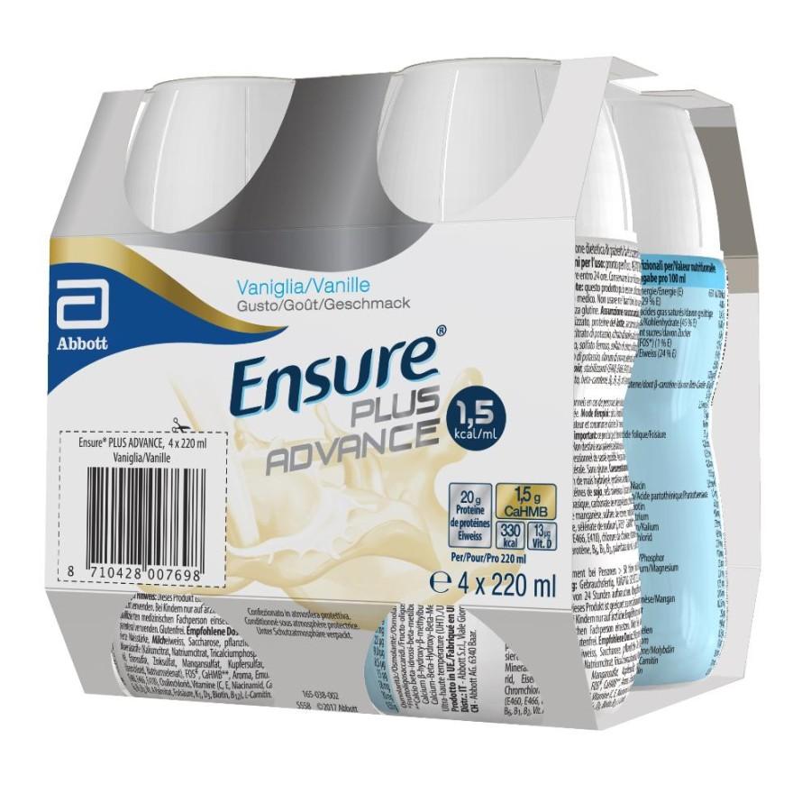 Ensure Plus Advance Formula Potenziata Vaniglia 4 Pezzi Da 220 ml
