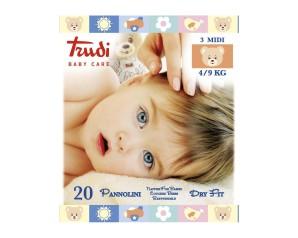 Trudi Baby Care Pannolini Dry Fit  Misura Midi 4/9 Kg 20 Pezzi