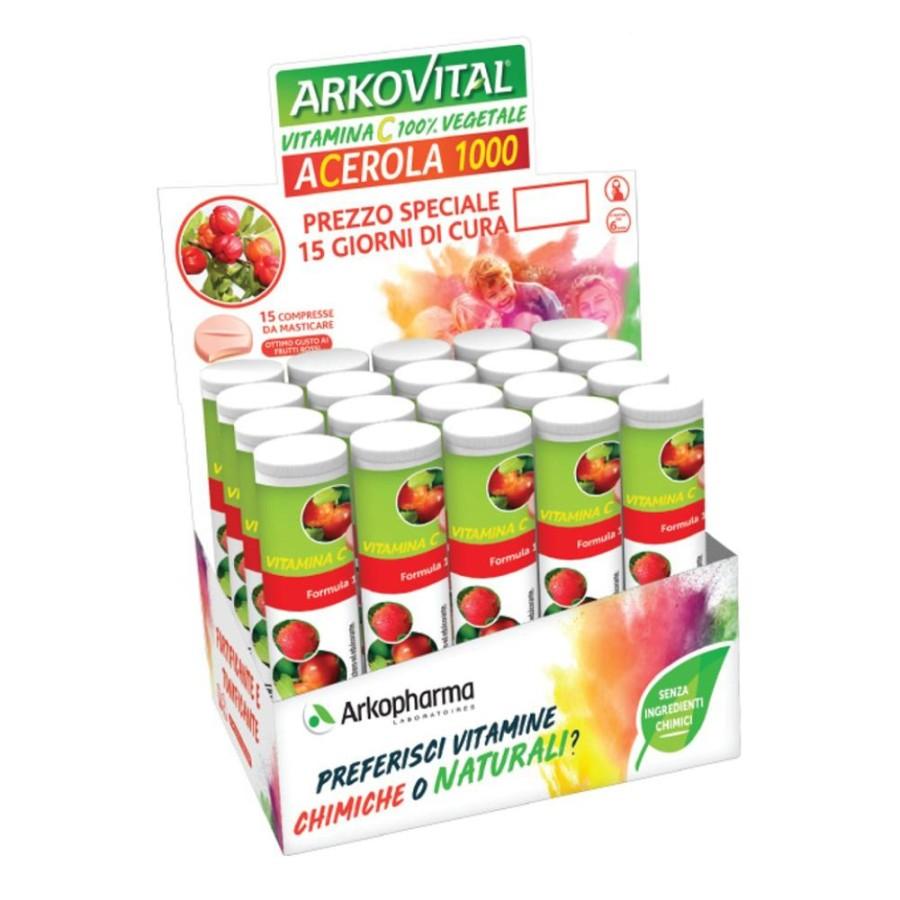 Arkofarm Arkovital Acerola Vitamina C  Energia e Fatica 15 Compresse
