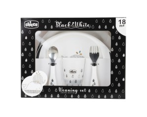 Chicco Artsana Set Pappa Black White Whales 18m+ Limited Edition